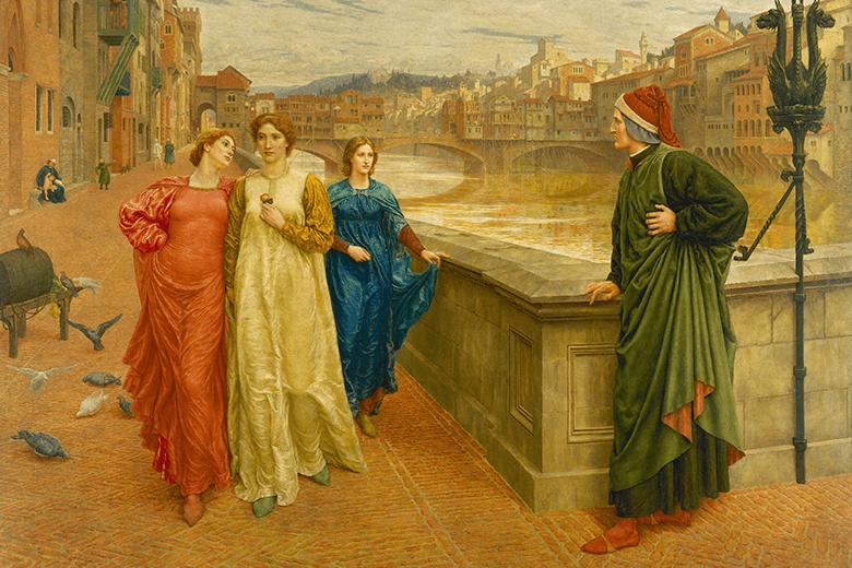 Henry Holiday. Dante y Beatrice en el puente Santa Trinidad.
